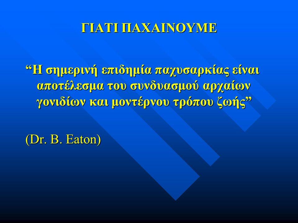 """ΓΙΑΤΙ ΠΑΧΑΙΝΟΥΜΕ """"Η σημερινή επιδημία παχυσαρκίας είναι αποτέλεσμα του συνδυασμού αρχαίων γονιδίων και μοντέρνου τρόπου ζωής"""" (Dr. B. Eaton)"""