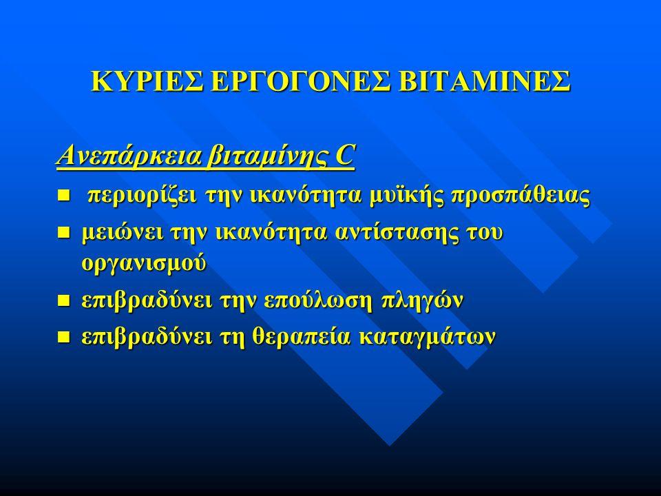 ΚΥΡΙΕΣ ΕΡΓΟΓΟΝΕΣ ΒΙΤΑΜΙΝΕΣ Ανεπάρκεια βιταμίνης C n περιορίζει την ικανότητα μυϊκής προσπάθειας n μειώνει την ικανότητα αντίστασης του οργανισμού n επ