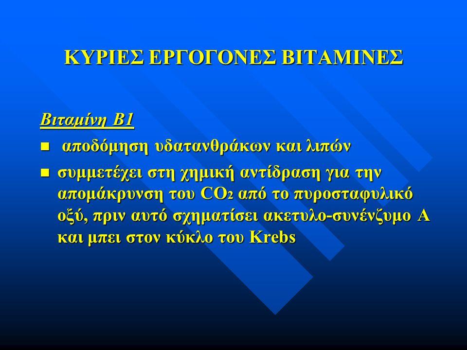 ΚΥΡΙΕΣ ΕΡΓΟΓΟΝΕΣ ΒΙΤΑΜΙΝΕΣ Βιταμίνη B1 n αποδόμηση υδατανθράκων και λιπών n συμμετέχει στη χημική αντίδραση για την απομάκρυνση του CO 2 από το πυροστ