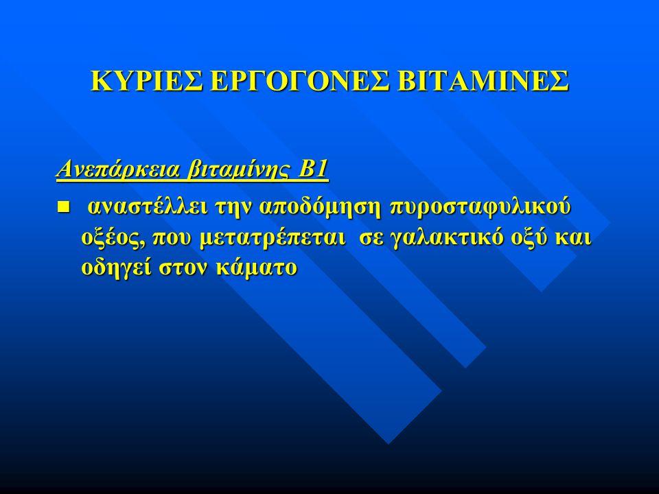 ΚΥΡΙΕΣ ΕΡΓΟΓΟΝΕΣ ΒΙΤΑΜΙΝΕΣ Ανεπάρκεια βιταμίνης B1 n αναστέλλει την αποδόμηση πυροσταφυλικού οξέος, που μετατρέπεται σε γαλακτικό οξύ και οδηγεί στον