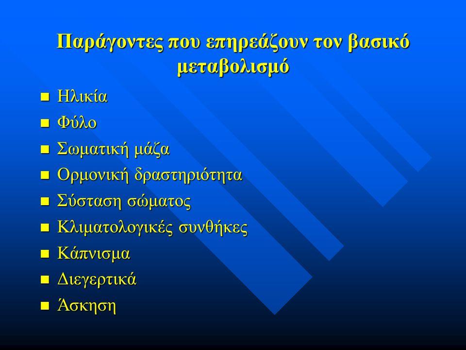 Παράγοντες που επηρεάζουν τον βασικό μεταβολισμό n Ηλικία n Φύλο n Σωματική μάζα n Ορμονική δραστηριότητα n Σύσταση σώματος n Κλιματολογικές συνθήκες