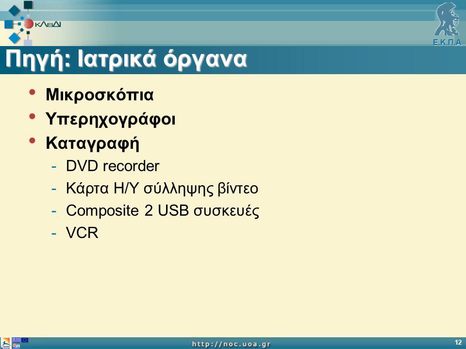 Ε.Κ.Π.Α 12 Πηγή: Iατρικά όργανα Μικροσκόπια Υπερηχογράφοι Καταγραφή -DVD recorder -Κάρτα Η/Υ σύλληψης βίντεο -Composite 2 USB συσκευές -VCR