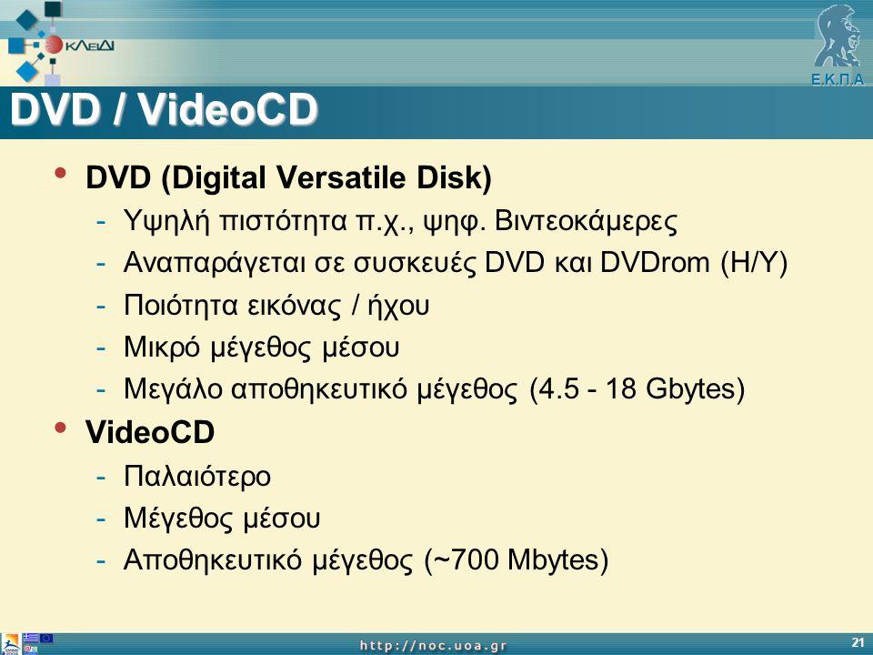 Ε.Κ.Π.Α 21 DVD / VideoCD DVD (Digital Versatile Disk) -Υψηλή πιστότητα π.χ., ψηφ. Βιντεοκάμερες -Αναπαράγεται σε συσκευές DVD και DVDrom (H/Y) -Ποιότη