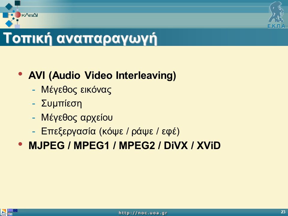 Ε.Κ.Π.Α 23 Τοπική αναπαραγωγή AVI (Audio Video Interleaving) -Μέγεθος εικόνας -Συμπίεση -Μέγεθος αρχείου -Επεξεργασία (κόψε / ράψε / εφέ) MJPEG / MPEG1 / MPEG2 / DiVX / XViD