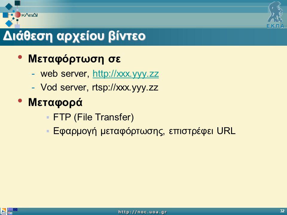 Ε.Κ.Π.Α 32 Διάθεση αρχείου βίντεο Μεταφόρτωση σε -web server, http://xxx.yyy.zzhttp://xxx.yyy.zz -Vod server, rtsp://xxx.yyy.zz Μεταφορά  FTP (File Transfer)  Εφαρμογή μεταφόρτωσης, επιστρέφει URL