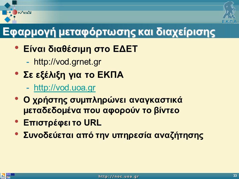 Ε.Κ.Π.Α 33 Εφαρμογή μεταφόρτωσης και διαχείρισης Eίναι διαθέσιμη στο ΕΔΕΤ -http://vod.grnet.gr Σε εξέλιξη για το ΕΚΠΑ -http://vod.uoa.grhttp://vod.uoa.gr O χρήστης συμπληρώνει αναγκαστικά μεταδεδομένα που αφορούν το βίντεο Επιστρέφει το URL Συνοδεύεται από την υπηρεσία αναζήτησης