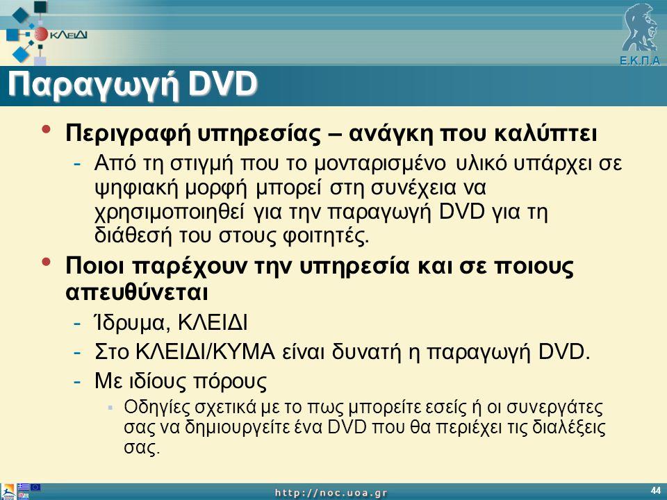 Ε.Κ.Π.Α 44 Παραγωγή DVD Περιγραφή υπηρεσίας – ανάγκη που καλύπτει -Από τη στιγμή που το μονταρισμένο υλικό υπάρχει σε ψηφιακή μορφή μπορεί στη συνέχεια να χρησιμοποιηθεί για την παραγωγή DVD για τη διάθεσή του στους φοιτητές.