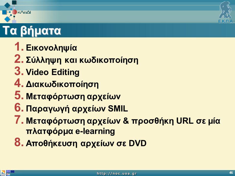 Ε.Κ.Π.Α 46 Τα βήματα 1. Εικονοληψία 2. Σύλληψη και κωδικοποίηση 3. Video Editing 4. Διακωδικοποίηση 5. Μεταφόρτωση αρχείων 6. Παραγωγή αρχείων SMIL 7.