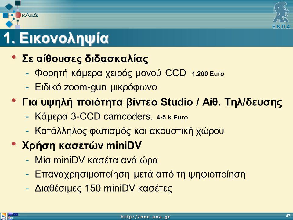 Ε.Κ.Π.Α 47 1. Εικονοληψία Σε αίθουσες διδασκαλίας -Φορητή κάμερα χειρός μονού CCD 1.200 Euro -Ειδικό zoom-gun μικρόφωνο Για υψηλή ποιότητα βίντεο Stud