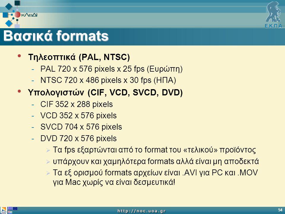 Ε.Κ.Π.Α 54 Βασικά formats Τηλεοπτικά (PAL, NTSC) -PAL 720 x 576 pixels x 25 fps (Ευρώπη) -NTSC 720 x 486 pixels x 30 fps (ΗΠΑ) Υπολογιστών (CIF, VCD, SVCD, DVD) -CIF 352 x 288 pixels -VCD 352 x 576 pixels -SVCD 704 x 576 pixels -DVD 720 x 576 pixels  Τα fps εξαρτώνται από το format του «τελικού» προϊόντος  υπάρχουν και χαμηλότερα formats αλλά είναι μη αποδεκτά  Τα εξ ορισμού formats αρχείων είναι.AVI για PC και.MOV για Mac χωρίς να είναι δεσμευτικά!