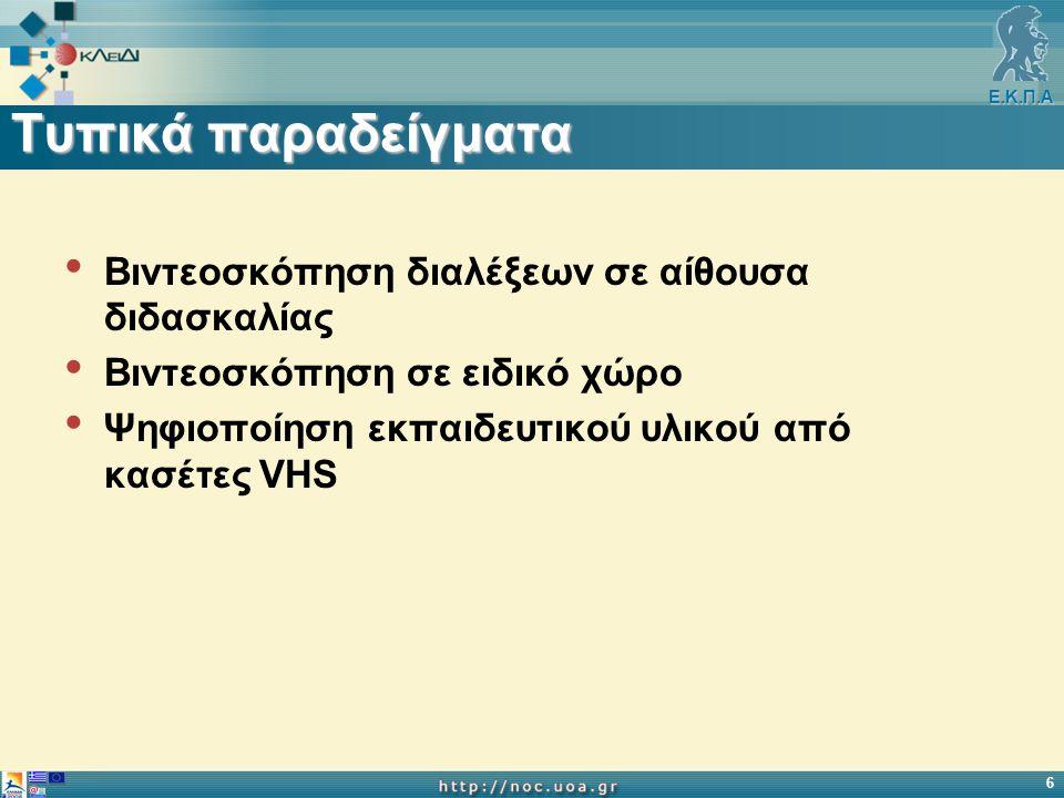 Ε.Κ.Π.Α 6 Τυπικά παραδείγματα Βιντεοσκόπηση διαλέξεων σε αίθουσα διδασκαλίας Βιντεοσκόπηση σε ειδικό χώρο Ψηφιοποίηση εκπαιδευτικού υλικού από κασέτες