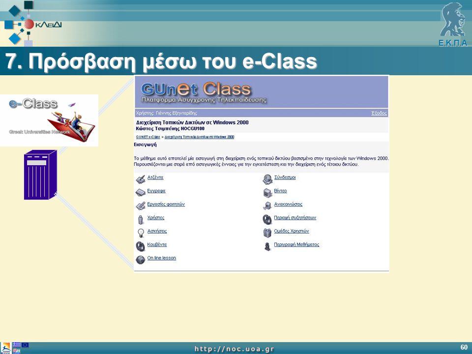 Ε.Κ.Π.Α 60 7. Πρόσβαση μέσω του e-Class
