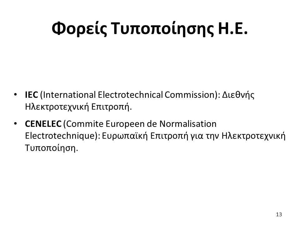 Φορείς Τυποποίησης Η.Ε. IEC (International Electrotechnical Commission): Διεθνής Ηλεκτροτεχνική Επιτροπή. CENELEC (Commite Europeen de Normalisation E