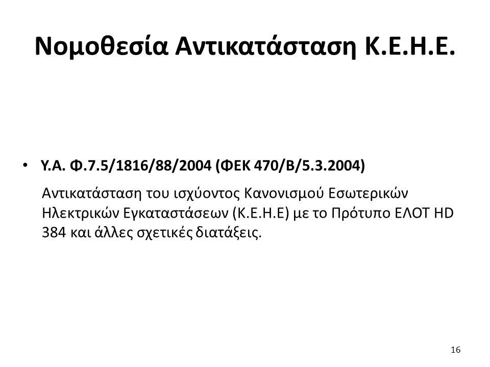 Νομοθεσία Αντικατάσταση Κ.Ε.Η.Ε. Υ.Α. Φ.7.5/1816/88/2004 (ΦΕΚ 470/Β/5.3.2004) Αντικατάσταση του ισχύοντος Κανονισμού Εσωτερικών Ηλεκτρικών Εγκαταστάσε