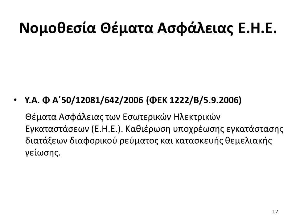 Νομοθεσία Θέματα Ασφάλειας Ε.Η.Ε. Υ.Α. Φ Α΄50/12081/642/2006 (ΦΕΚ 1222/Β/5.9.2006) Θέματα Ασφάλειας των Εσωτερικών Ηλεκτρικών Εγκαταστάσεων (Ε.Η.Ε.).
