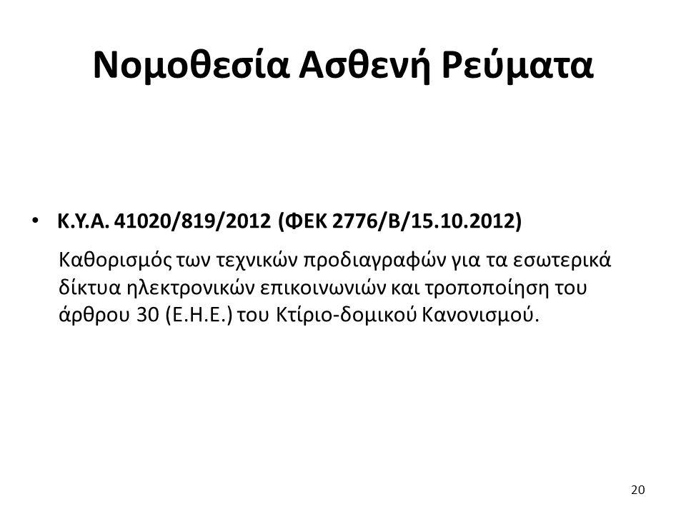 Νομοθεσία Ασθενή Ρεύματα Κ.Υ.Α. 41020/819/2012 (ΦΕΚ 2776/Β/15.10.2012) Καθορισμός των τεχνικών προδιαγραφών για τα εσωτερικά δίκτυα ηλεκτρονικών επικο