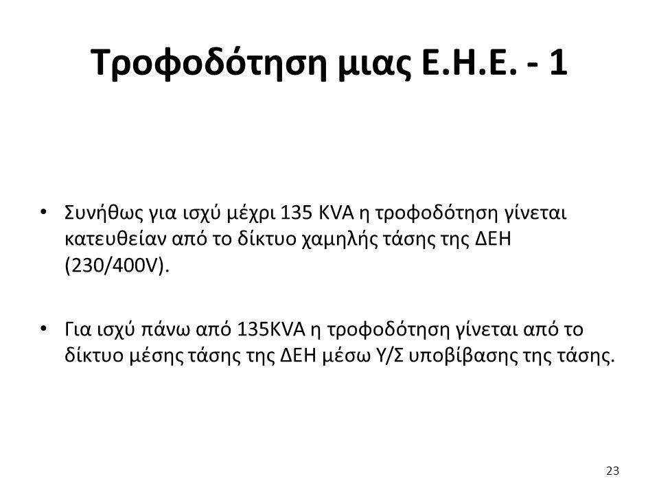 Τροφοδότηση μιας Ε.Η.Ε. - 1 Συνήθως για ισχύ μέχρι 135 KVA η τροφοδότηση γίνεται κατευθείαν από το δίκτυο χαμηλής τάσης της ΔΕΗ (230/400V). Για ισχύ π