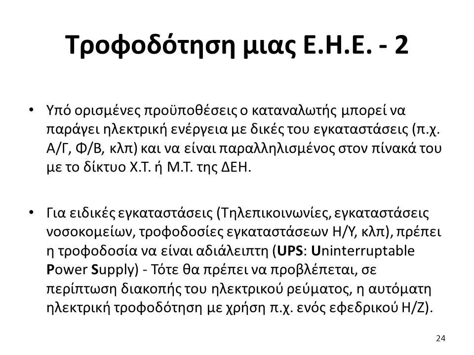 Τροφοδότηση μιας Ε.Η.Ε. - 2 Υπό ορισμένες προϋποθέσεις ο καταναλωτής μπορεί να παράγει ηλεκτρική ενέργεια με δικές του εγκαταστάσεις (π.χ. Α/Γ, Φ/Β, κ