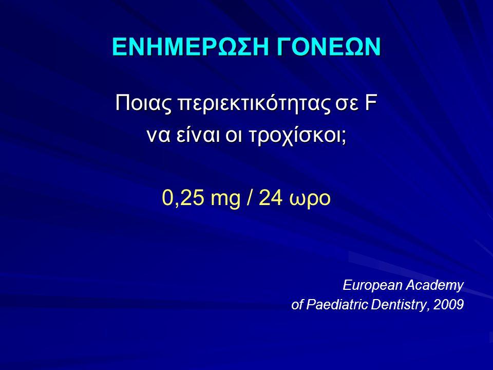ΕΝΗΜΕΡΩΣΗ ΓΟΝΕΩΝ Ποιας περιεκτικότητας σε F να είναι οι τροχίσκοι; 0,25 mg / 24 ωρο European Academy of Paediatric Dentistry, 2009