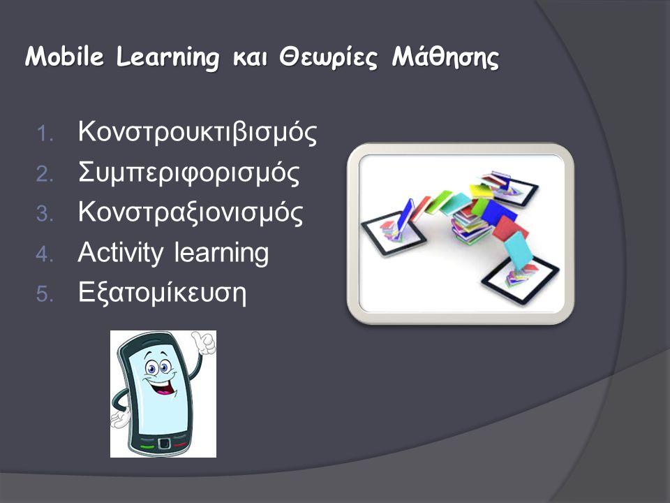 1. Κονστρουκτιβισμός 2. Συμπεριφορισμός 3. Κονστραξιονισμός 4. Activity learning 5. Εξατομίκευση Mobile Learning και Θεωρίες Μάθησης
