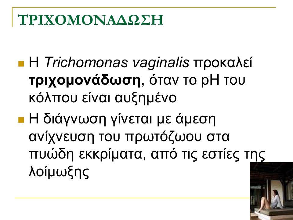 ΤΡΙΧΟΜΟΝΑΔΩΣΗ Η Trichomonas vaginalis προκαλεί τριχομονάδωση, όταν το pH του κόλπου είναι αυξημένο Η διάγνωση γίνεται με άμεση ανίχνευση του πρωτόζωου