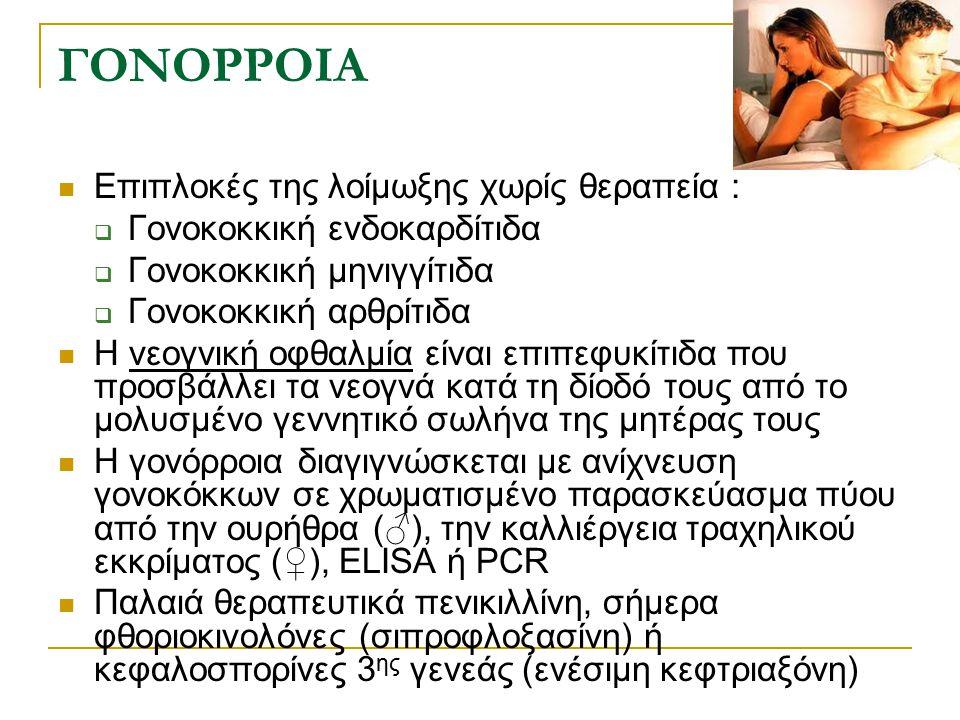 ΓΟΝΟΡΡΟΙΑ Επιπλοκές της λοίμωξης χωρίς θεραπεία :  Γονοκοκκική ενδοκαρδίτιδα  Γονοκοκκική μηνιγγίτιδα  Γονοκοκκική αρθρίτιδα Η νεογνική οφθαλμία εί