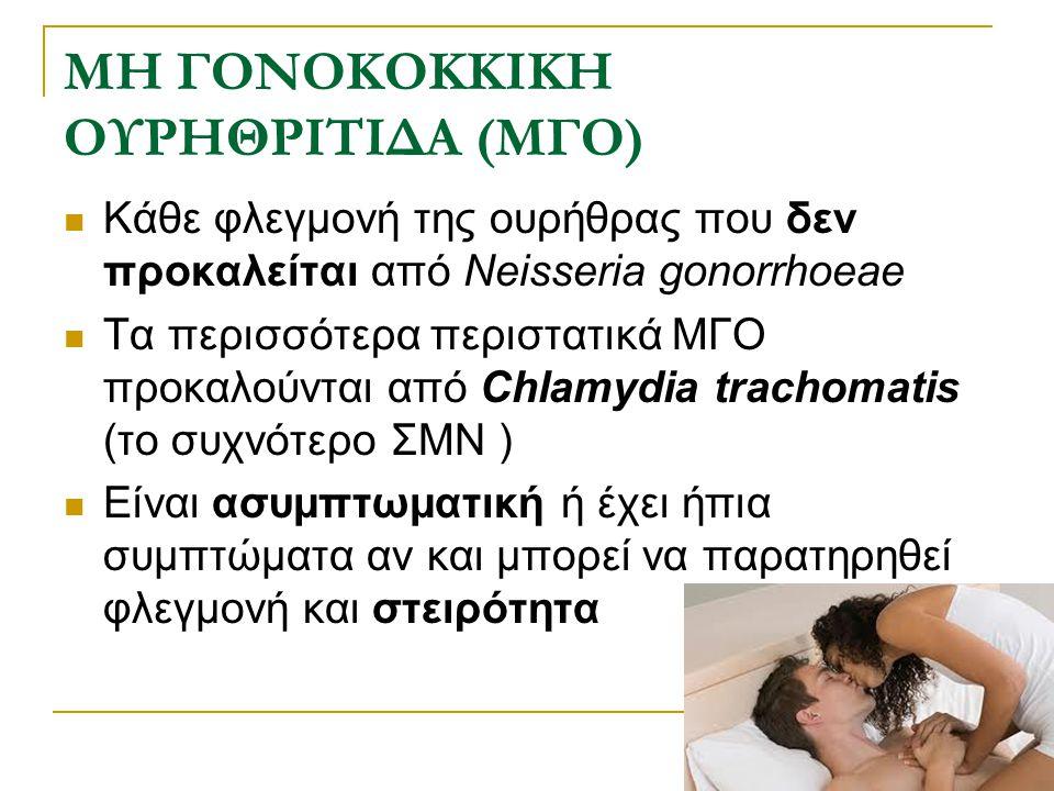 ΜΗ ΓΟΝΟΚΟΚΚΙΚΗ ΟΥΡΗΘΡΙΤΙΔΑ (ΜΓΟ) Κάθε φλεγμονή της ουρήθρας που δεν προκαλείται από Neisseria gonorrhoeae Τα περισσότερα περιστατικά ΜΓΟ προκαλούνται