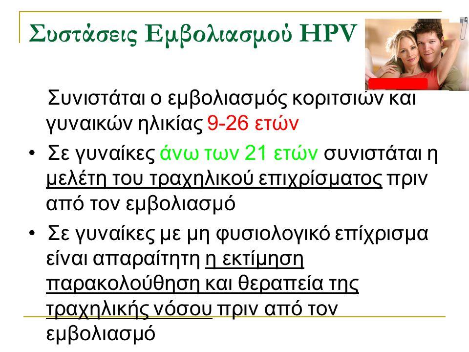 Συστάσεις Εμβολιασμού HPV Συνιστάται ο εμβολιασμός κοριτσιών και γυναικών ηλικίας 9-26 ετών Σε γυναίκες άνω των 21 ετών συνιστάται η μελέτη του τραχηλ