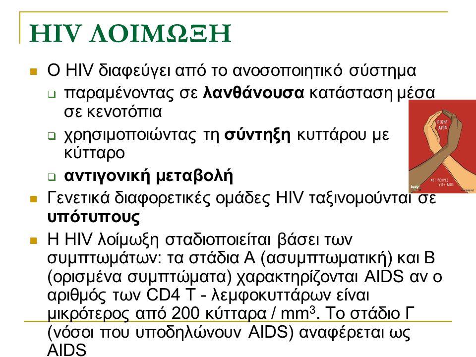 HIV ΛΟΙΜΩΞΗ Ο HIV διαφεύγει από το ανοσοποιητικό σύστημα  παραμένοντας σε λανθάνουσα κατάσταση μέσα σε κενοτόπια  χρησιμοποιώντας τη σύντηξη κυττάρο