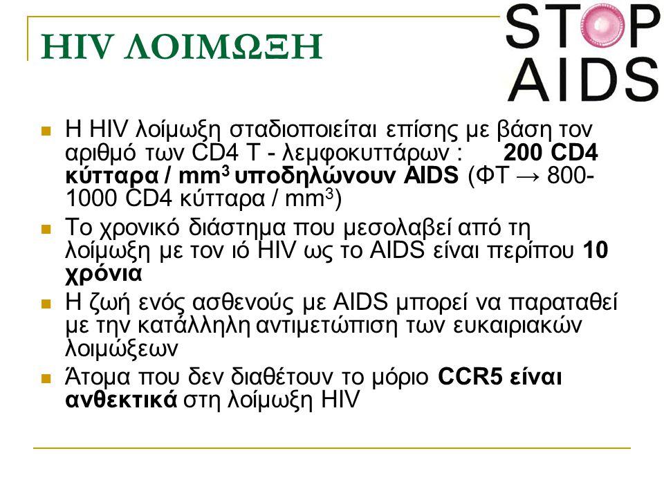 HIV ΛΟΙΜΩΞΗ Η HIV λοίμωξη σταδιοποιείται επίσης με βάση τον αριθμό των CD4 Τ - λεμφοκυττάρων : 200 CD4 κύτταρα / mm 3 υποδηλώνουν AIDS (ΦΤ → 800- 1000