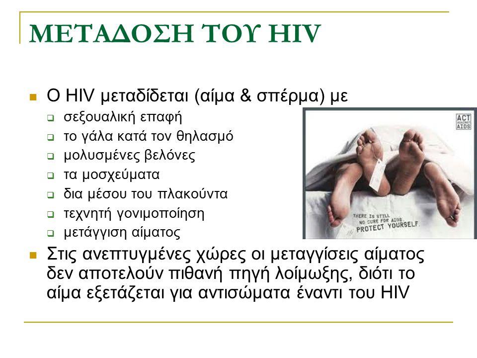 ΜΕΤΑΔΟΣΗ ΤΟΥ HIV Ο HIV μεταδίδεται (αίμα & σπέρμα) με  σεξουαλική επαφή  το γάλα κατά τον θηλασμό  μολυσμένες βελόνες  τα μοσχεύματα  δια μέσου τ