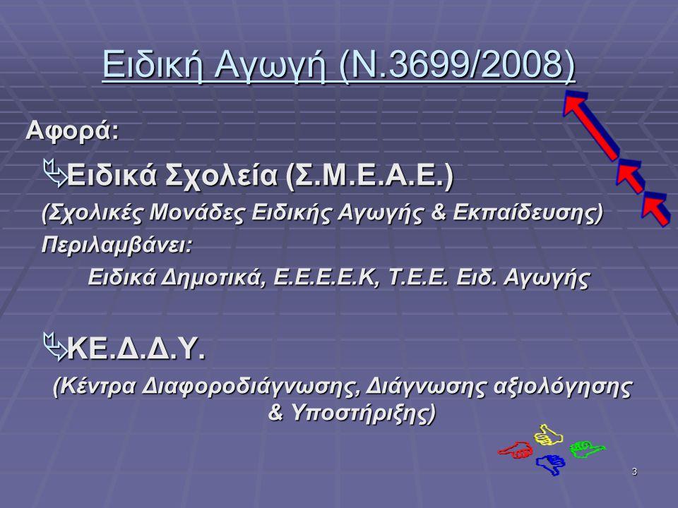3 Ειδική Αγωγή (Ν.3699/2008)  Ειδικά Σχολεία (Σ.Μ.Ε.Α.Ε.) (Σχολικές Μονάδες Ειδικής Αγωγής & Εκπαίδευσης) Περιλαμβάνει: Ειδικά Δημοτικά, Ε.Ε.Ε.Ε.Κ, Τ