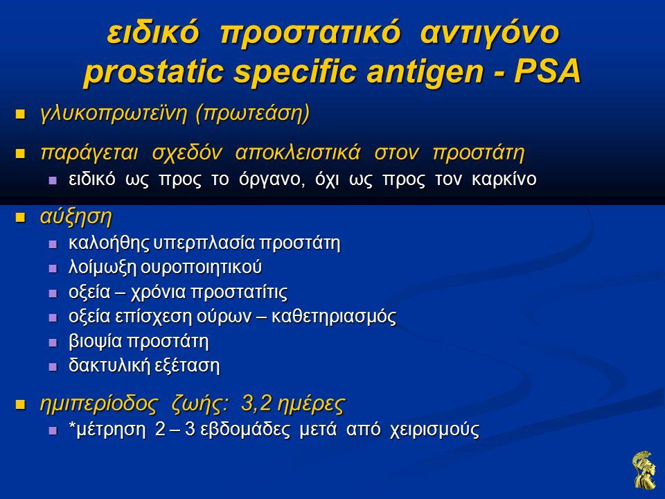 ειδικό προστατικό αντιγόνο prostatic specific antigen - PSA γλυκοπρωτεϊνη (πρωτεάση) γλυκοπρωτεϊνη (πρωτεάση) παράγεται σχεδόν αποκλειστικά στον προστάτη παράγεται σχεδόν αποκλειστικά στον προστάτη ειδικό ως προς το όργανο, όχι ως προς τον καρκίνο ειδικό ως προς το όργανο, όχι ως προς τον καρκίνο αύξηση αύξηση καλοήθης υπερπλασία προστάτη καλοήθης υπερπλασία προστάτη λοίμωξη ουροποιητικού λοίμωξη ουροποιητικού οξεία – χρόνια προστατίτις οξεία – χρόνια προστατίτις οξεία επίσχεση ούρων – καθετηριασμός οξεία επίσχεση ούρων – καθετηριασμός βιοψία προστάτη βιοψία προστάτη δακτυλική εξέταση δακτυλική εξέταση ημιπερίοδος ζωής: 3,2 ημέρες ημιπερίοδος ζωής: 3,2 ημέρες *μέτρηση 2 – 3 εβδομάδες μετά από χειρισμούς *μέτρηση 2 – 3 εβδομάδες μετά από χειρισμούς