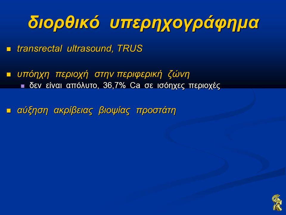 διορθικό υπερηχογράφημα transrectal ultrasound, TRUS transrectal ultrasound, TRUS υπόηχη περιοχή στην περιφερική ζώνη υπόηχη περιοχή στην περιφερική ζώνη δεν είναι απόλυτο, 36,7% Ca σε ισόηχες περιοχές δεν είναι απόλυτο, 36,7% Ca σε ισόηχες περιοχές αύξηση ακρίβειας βιοψίας προστάτη αύξηση ακρίβειας βιοψίας προστάτη