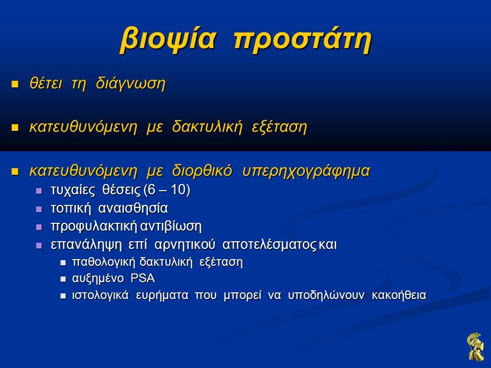 βιοψία προστάτη θέτει τη διάγνωση θέτει τη διάγνωση κατευθυνόμενη με δακτυλική εξέταση κατευθυνόμενη με δακτυλική εξέταση κατευθυνόμενη με διορθικό υπερηχογράφημα κατευθυνόμενη με διορθικό υπερηχογράφημα τυχαίες θέσεις (6 – 10) τυχαίες θέσεις (6 – 10) τοπική αναισθησία τοπική αναισθησία προφυλακτική αντιβίωση προφυλακτική αντιβίωση επανάληψη επί αρνητικού αποτελέσματος και επανάληψη επί αρνητικού αποτελέσματος και παθολογική δακτυλική εξέταση παθολογική δακτυλική εξέταση αυξημένο PSA αυξημένο PSA ιστολογικά ευρήματα που μπορεί να υποδηλώνουν κακοήθεια ιστολογικά ευρήματα που μπορεί να υποδηλώνουν κακοήθεια
