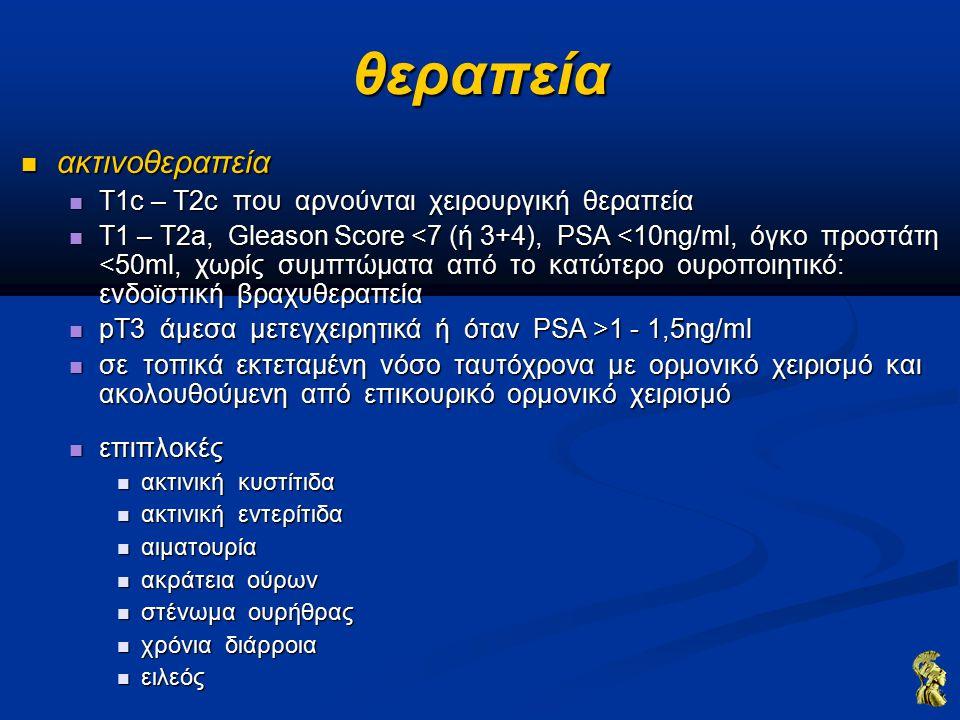 θεραπεία ακτινοθεραπεία ακτινοθεραπεία T1c – T2c που αρνούνται χειρουργική θεραπεία T1c – T2c που αρνούνται χειρουργική θεραπεία Τ1 – Τ2a, Gleason Score <7 (ή 3+4), PSA <10ng/ml, όγκο προστάτη <50ml, χωρίς συμπτώματα από το κατώτερο ουροποιητικό: ενδοϊστική βραχυθεραπεία Τ1 – Τ2a, Gleason Score <7 (ή 3+4), PSA <10ng/ml, όγκο προστάτη <50ml, χωρίς συμπτώματα από το κατώτερο ουροποιητικό: ενδοϊστική βραχυθεραπεία pT3 άμεσα μετεγχειρητικά ή όταν PSA >1 - 1,5ng/ml pT3 άμεσα μετεγχειρητικά ή όταν PSA >1 - 1,5ng/ml σε τοπικά εκτεταμένη νόσο ταυτόχρονα με ορμονικό χειρισμό και ακολουθούμενη από επικουρικό ορμονικό χειρισμό σε τοπικά εκτεταμένη νόσο ταυτόχρονα με ορμονικό χειρισμό και ακολουθούμενη από επικουρικό ορμονικό χειρισμό επιπλοκές επιπλοκές ακτινική κυστίτιδα ακτινική κυστίτιδα ακτινική εντερίτιδα ακτινική εντερίτιδα αιματουρία αιματουρία ακράτεια ούρων ακράτεια ούρων στένωμα ουρήθρας στένωμα ουρήθρας χρόνια διάρροια χρόνια διάρροια ειλεός ειλεός