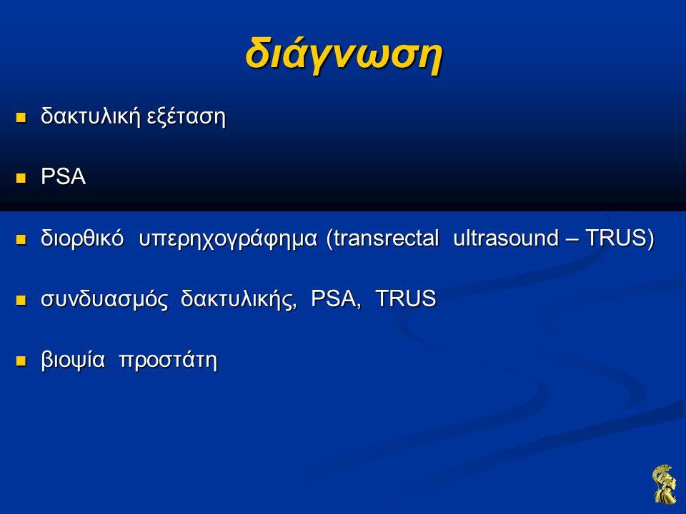 θεραπεία ριζική προστατεκτομή ριζική προστατεκτομή συστήνεται σαν ένδειξη συστήνεται σαν ένδειξη Τ1b – T2, προσδόκιμο επιβίωσης >10 έτη Τ1b – T2, προσδόκιμο επιβίωσης >10 έτη συστήνεται σαν θεραπευτική επιλογή συστήνεται σαν θεραπευτική επιλογή Τ1a, μεγάλο προσδόκιμο επιβίωσης Τ1a, μεγάλο προσδόκιμο επιβίωσης Τ3a, Gleason Score >8, PSA 8, PSA <20 ng/ml επιπλοκές επιπλοκές στυτική δυσλειτουργία στυτική δυσλειτουργία ακράτεια ακράτεια στένωμα αυχένα ουροδόχου κύστης – ουρήθρας στένωμα αυχένα ουροδόχου κύστης – ουρήθρας σημαντική αιμορραγία σημαντική αιμορραγία εν τω βάθει φλεβική θρόμβωση – πνευμονική εμβολή εν τω βάθει φλεβική θρόμβωση – πνευμονική εμβολή κάκωση ορθού κάκωση ορθού λεμφοίδημα λεμφοίδημα θάνατος θάνατος