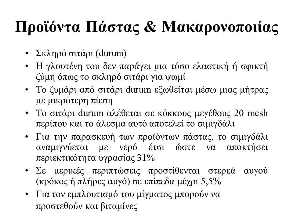 Προϊόντα Πάστας & Μακαρονοποιίας Σκληρό σιτάρι (durum) Η γλουτένη του δεν παράγει μια τόσο ελαστική ή σφικτή ζύμη όπως το σκληρό σιτάρι για ψωμί Το ζυ