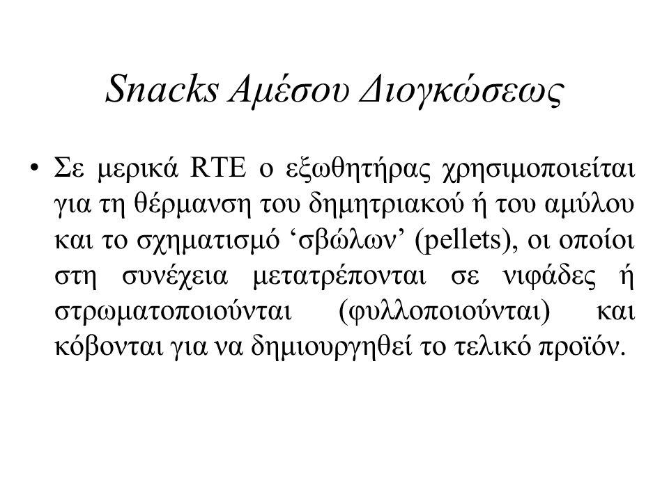 Snacks Αμέσου Διογκώσεως Σε μερικά RTE ο εξωθητήρας χρησιμοποιείται για τη θέρμανση του δημητριακού ή του αμύλου και το σχηματισμό 'σβώλων' (pellets),