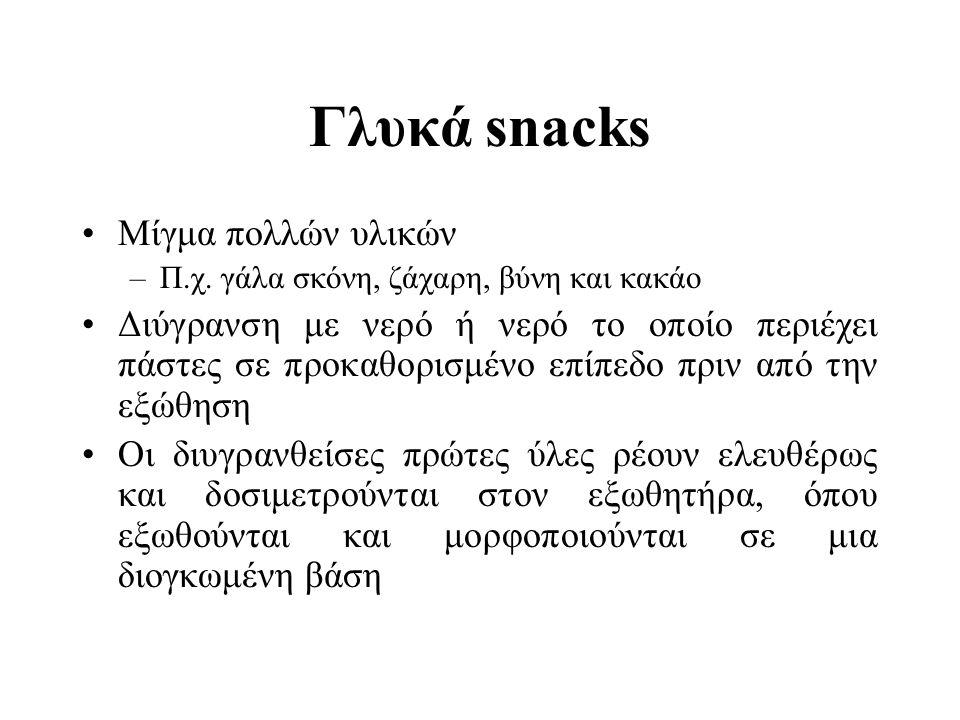 Γλυκά snacks Μίγμα πολλών υλικών –Π.χ. γάλα σκόνη, ζάχαρη, βύνη και κακάο Διύγρανση με νερό ή νερό το οποίο περιέχει πάστες σε προκαθορισμένο επίπεδο