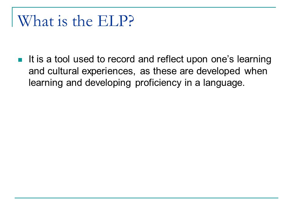 What is the ELP.