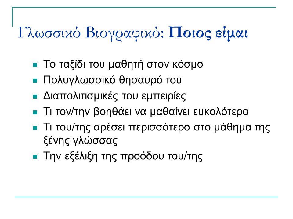 Γλωσσικό Βιογραφικό: Ποιος είμαι Το ταξίδι του μαθητή στον κόσμο Πολυγλωσσικό θησαυρό του Διαπολιτισμικές του εμπειρίες Τι τον/την βοηθάει να μαθαίνει ευκολότερα Τι του/της αρέσει περισσότερο στο μάθημα της ξένης γλώσσας Την εξέλιξη της προόδου του/της