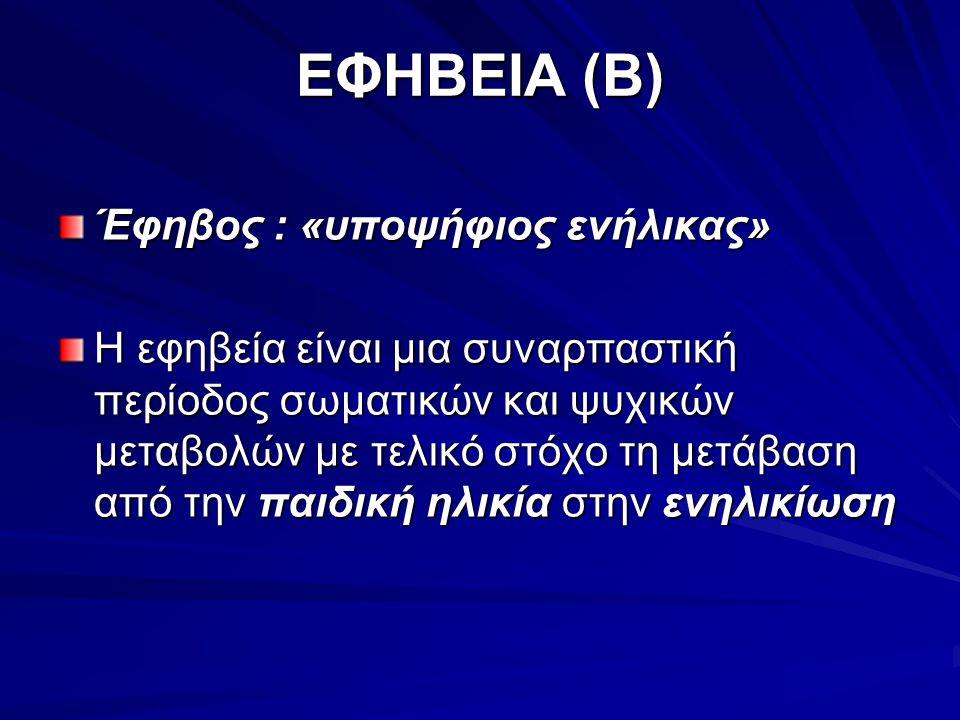 ΕΦΗΒΕΙΑ (Β) Έφηβος : «υποψήφιος ενήλικας» Η εφηβεία είναι μια συναρπαστική περίοδος σωματικών και ψυχικών μεταβολών με τελικό στόχο τη μετάβαση από την παιδική ηλικία στην ενηλικίωση