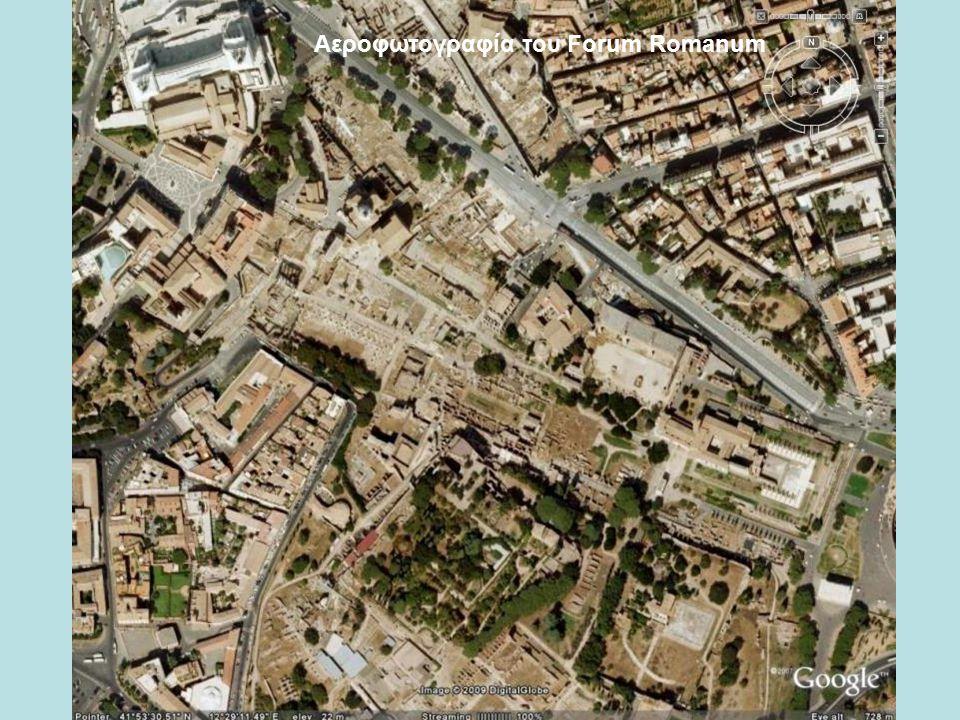 Αεροφωτογραφία του Καπιτωλίνου λόφου και η θέση του ναού του Jupiter Optimus Maximus