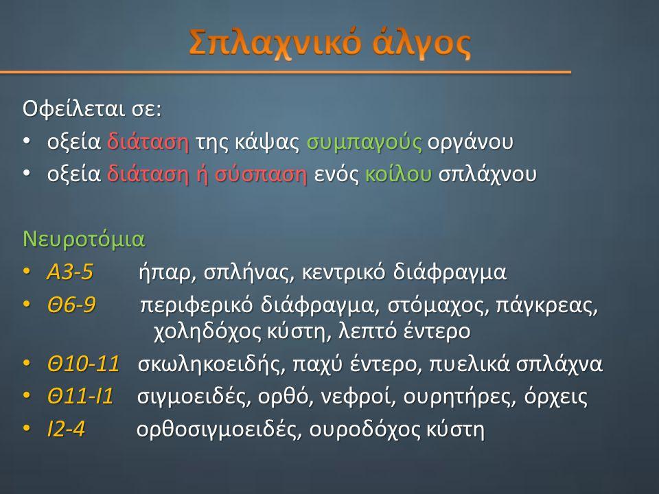 Οφείλεται σε: οξεία διάταση της κάψας συμπαγούς οργάνου οξεία διάταση της κάψας συμπαγούς οργάνου οξεία διάταση ή σύσπαση ενός κοίλου σπλάχνου οξεία διάταση ή σύσπαση ενός κοίλου σπλάχνουΝευροτόμια Α3-5 ήπαρ, σπλήνας, κεντρικό διάφραγμα Α3-5 ήπαρ, σπλήνας, κεντρικό διάφραγμα Θ6-9 περιφερικό διάφραγμα, στόμαχος, πάγκρεας, χοληδόχος κύστη, λεπτό έντερο Θ6-9 περιφερικό διάφραγμα, στόμαχος, πάγκρεας, χοληδόχος κύστη, λεπτό έντερο Θ10-11 σκωληκοειδής, παχύ έντερο, πυελικά σπλάχνα Θ10-11 σκωληκοειδής, παχύ έντερο, πυελικά σπλάχνα Θ11-Ι1 σιγμοειδές, ορθό, νεφροί, ουρητήρες, όρχεις Θ11-Ι1 σιγμοειδές, ορθό, νεφροί, ουρητήρες, όρχεις Ι2-4 ορθοσιγμοειδές, ουροδόχος κύστη Ι2-4 ορθοσιγμοειδές, ουροδόχος κύστη