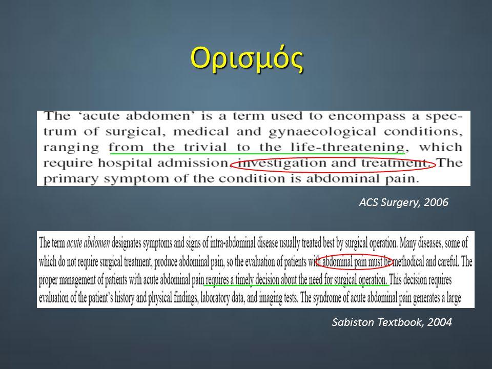 Ορισμός ACS Surgery, 2006 Sabiston Textbook, 2004