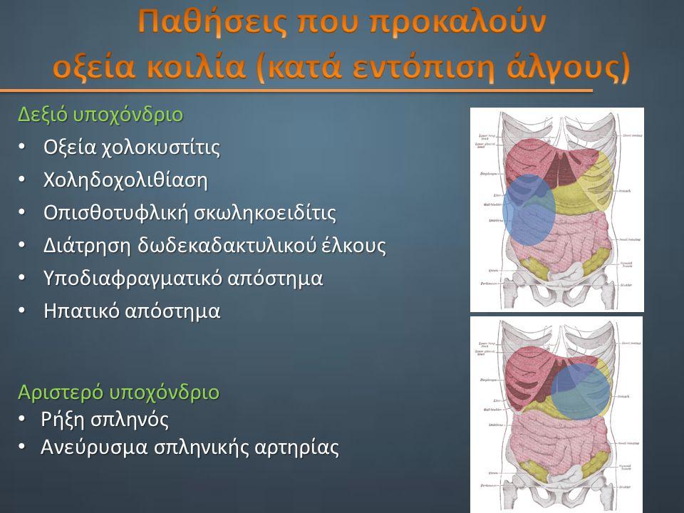 Δεξιό υποχόνδριο Δεξιό υποχόνδριο Οξεία χολοκυστίτις Οξεία χολοκυστίτις Χοληδοχολιθίαση Χοληδοχολιθίαση Οπισθοτυφλική σκωληκοειδίτις Οπισθοτυφλική σκωληκοειδίτις Διάτρηση δωδεκαδακτυλικού έλκους Διάτρηση δωδεκαδακτυλικού έλκους Υποδιαφραγματικό απόστημα Υποδιαφραγματικό απόστημα Ηπατικό απόστημα Ηπατικό απόστημα Αριστερό υποχόνδριο Ρήξη σπληνός Ρήξη σπληνός Ανεύρυσμα σπληνικής αρτηρίας Ανεύρυσμα σπληνικής αρτηρίας