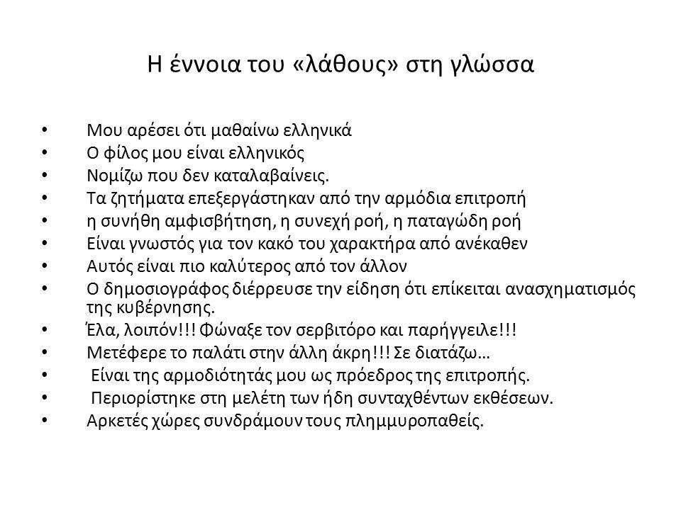 Η έννοια του «λάθους» στη γλώσσα Μου αρέσει ότι μαθαίνω ελληνικά Ο φίλος μου είναι ελληνικός Νομίζω που δεν καταλαβαίνεις. Τα ζητήματα επεξεργάστηκαν