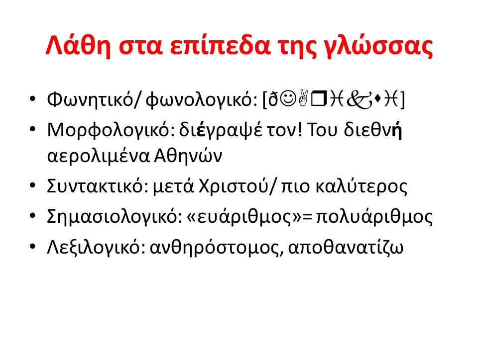 Λάθη στα επίπεδα της γλώσσας Φωνητικό/ φωνολογικό: [ð  ] Μορφολογικό: διέγραψέ τον! Του διεθνή αερολιμένα Αθηνών Συντακτικό: μετά Χριστού/ πιο κ