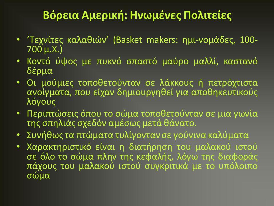 'Τεχνίτες καλαθιών' (Basket makers: ημι-νομάδες, 100- 700 μ.Χ.) Κοντό ύψος με πυκνό σπαστό μαύρο μαλλί, καστανό δέρμα Οι μούμιες τοποθετούνταν σε λάκκ